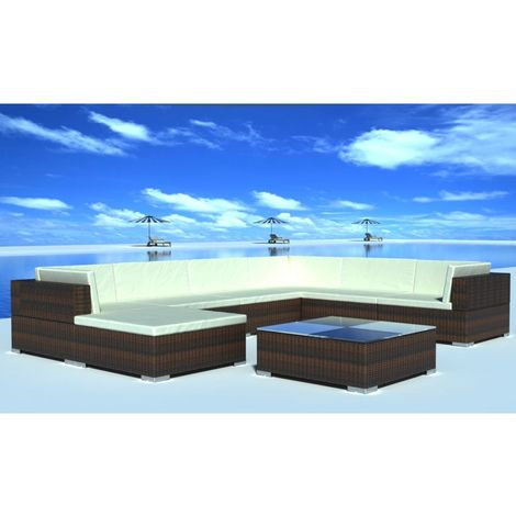 Hommoo 8 Piece Garden Lounge Set with Cushions Poly Rattan Brown VD33958