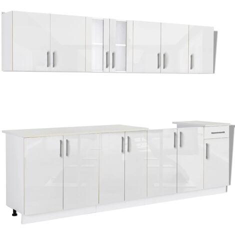 Hommoo 8 Piece Kitchen Cabinet Unit High Gloss White 260 cm QAH08856