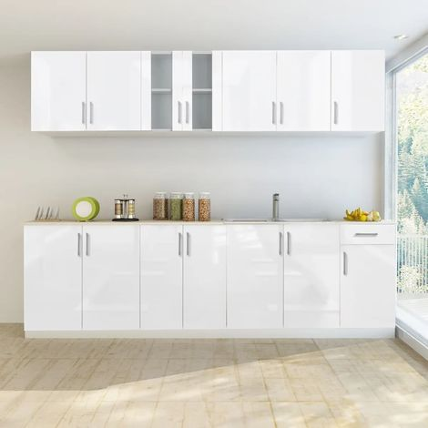 Hommoo 8 Piece Kitchen Cabinet Unit High Gloss White 260 cm VD08856