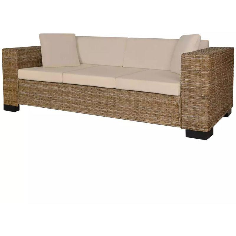 8-tlg. 3-Sitzer Sofa Set Echt Rattan VD09684 - Hommoo