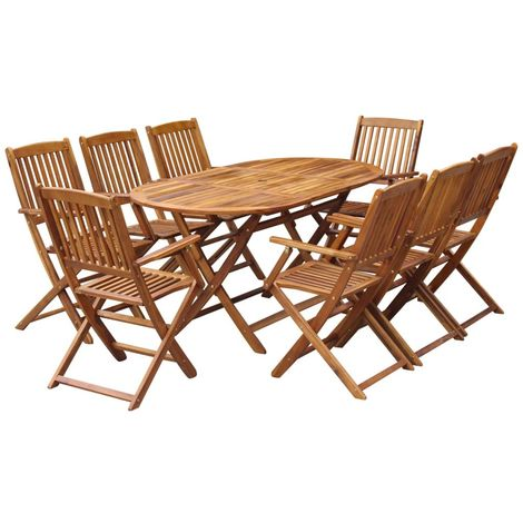 Hommoo 9 Piece Folding Outdoor Dining Set Solid Acacia Wood