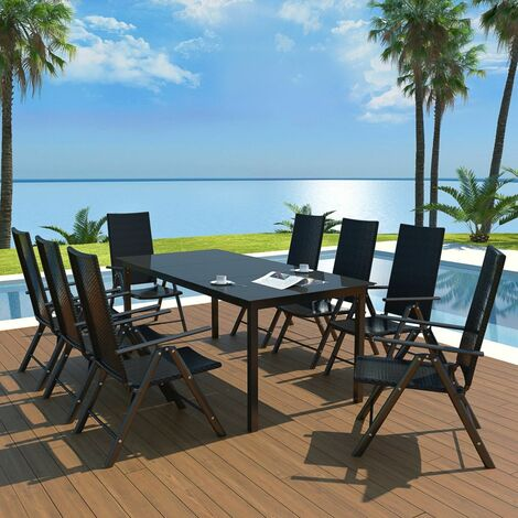 Hommoo 9 Piece Outdoor Dining Set Aluminium and Poly Rattan