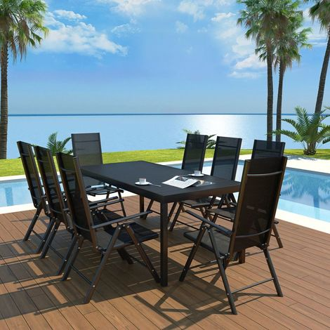 Hommoo 9 Piece Outdoor Dining Set Aluminium and WPC Black