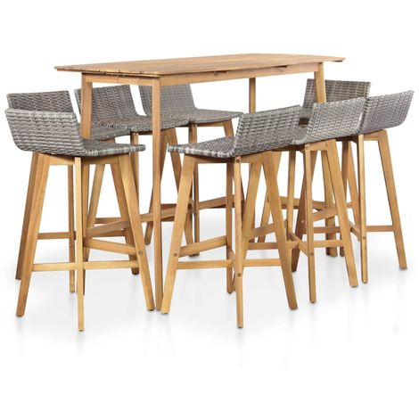 Hommoo 9 Piece Outdoor Dining Set Solid Acacia Wood