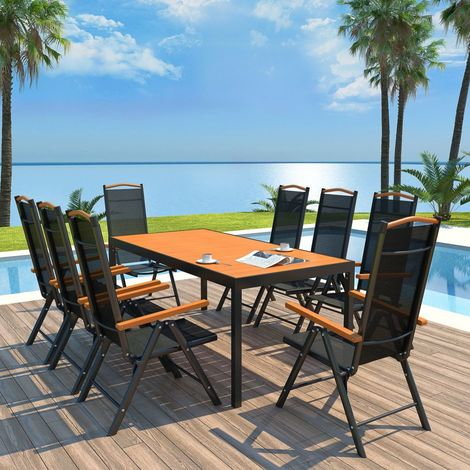 Hommoo 9 Piece Outdoor Dining Set with Folding Chairs Aluminium Black