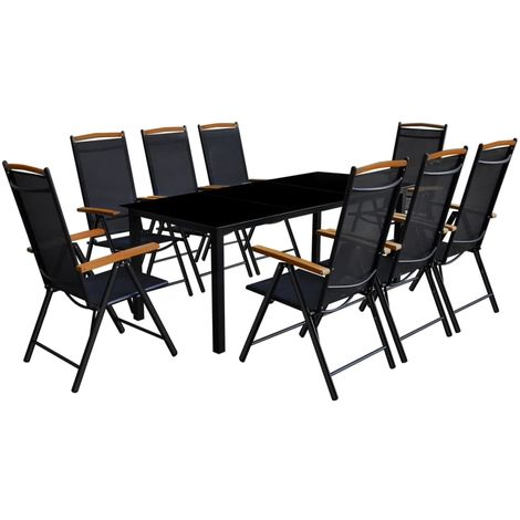 Hommoo 9 Piece Outdoor Dining Set with Folding Chairs Aluminium Black VD26671