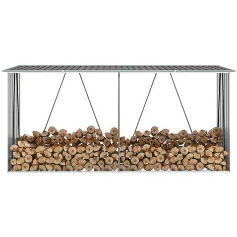 Hommoo Abri de stockage de bois Acier galvanisé 330x84x152 cm Gris HDV29039