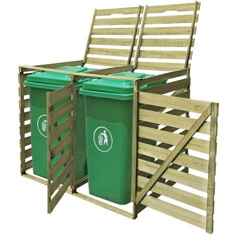 Hommoo Abri pour poubelle double 240 L Bois imprégné FSC