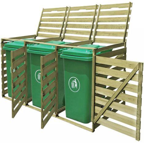 Hommoo Abri pour poubelle triple 240 L Bois imprégné FSC