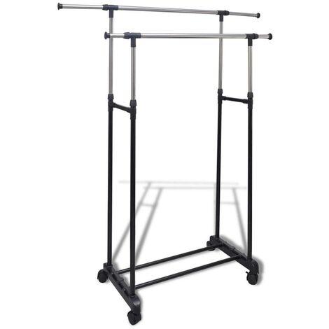 Hommoo Adjustable Clothes Rack 4 Castors 2 Hanging Rails