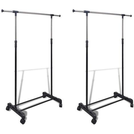 Hommoo Adjustable Clothes Racks 2 pcs 1 Hanging Rail
