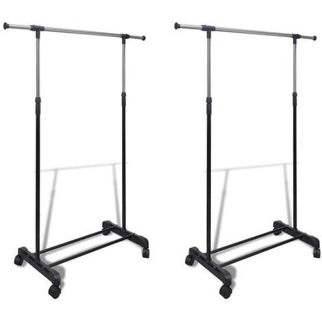 Hommoo Adjustable Clothes Racks 2 pcs 1 Hanging Rail VD14855
