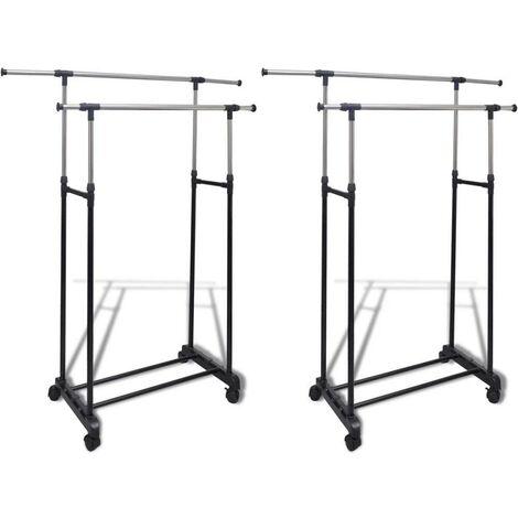 Hommoo Adjustable Clothes Racks 2 pcs 2 Hanging Rails
