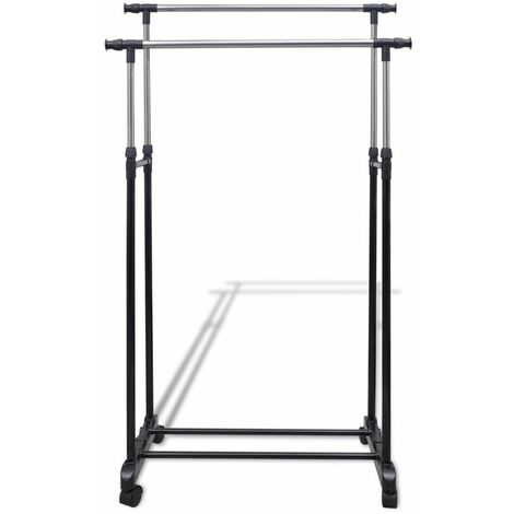 Hommoo Adjustable Clothes Racks 2 pcs 2 Hanging Rails QAH14856