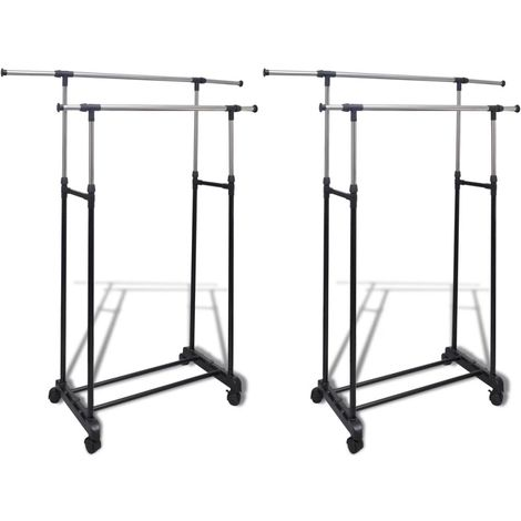 Hommoo Adjustable Clothes Racks 2 pcs 2 Hanging Rails VD14856