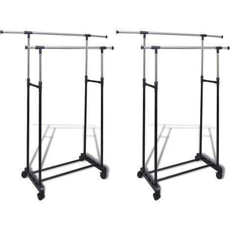 Hommoo Adjustable Clothes Racks 2 pcs 2 Hanging Rails VD14856
