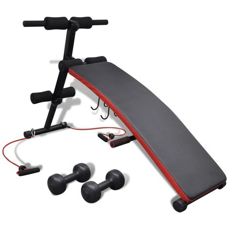 Hommoo Adjustable Multifunctional Sit Up Bench with 3 kg Dumbbells VD32096