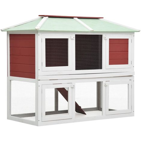 Hommoo Animal Rabbit Cage Double Floor Red Wood