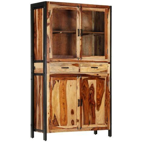 Hommoo Aparador con vitrina de madera maciza de sheesham 100x40x175 cm