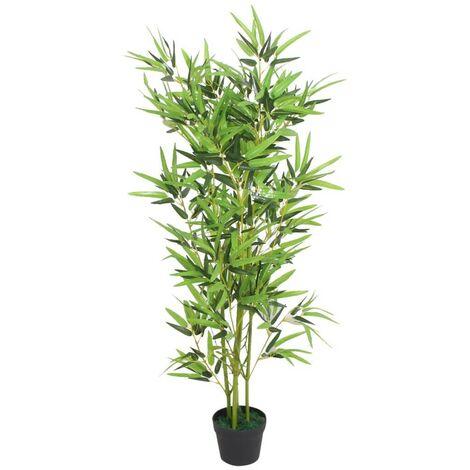 Hommoo árbol de bambú artificial con maceta 120 cm verde