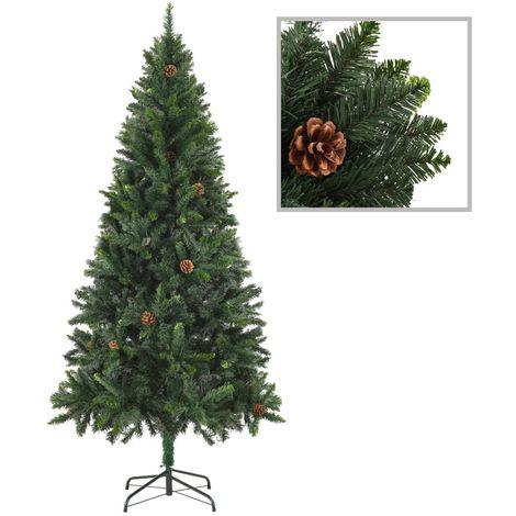 Hommoo árbol de Navidad artificial con piñas verde 180 cm