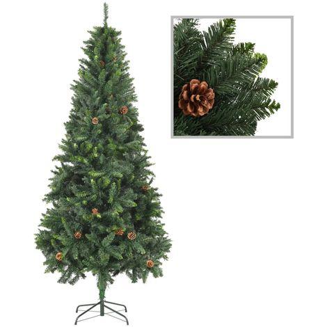 Hommoo árbol de Navidad artificial con piñas verde 210 cm