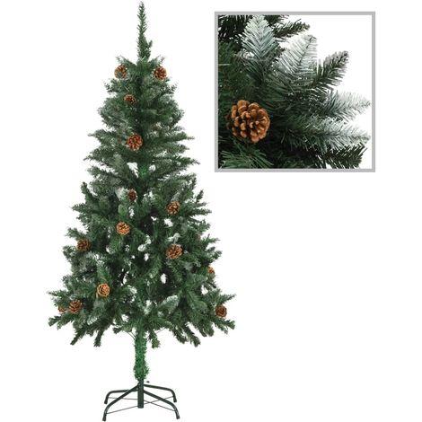 Hommoo árbol de Navidad artificial con piñas y brillo blanco 150 cm