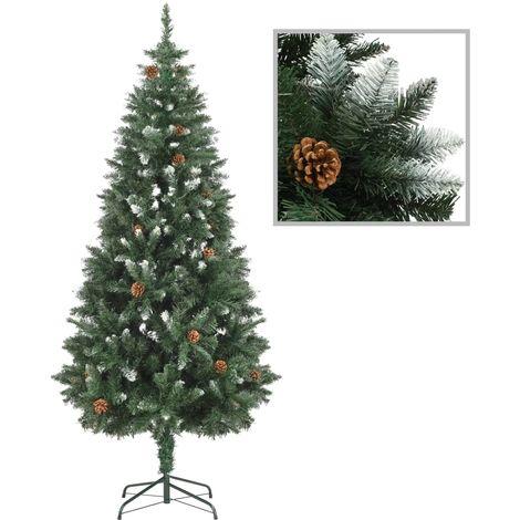 Hommoo árbol de Navidad artificial con piñas y brillo blanco 180 cm