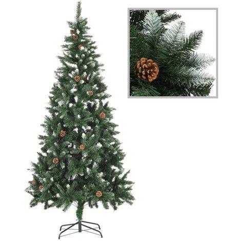 Hommoo árbol de Navidad artificial con piñas y brillo blanco 210 cm