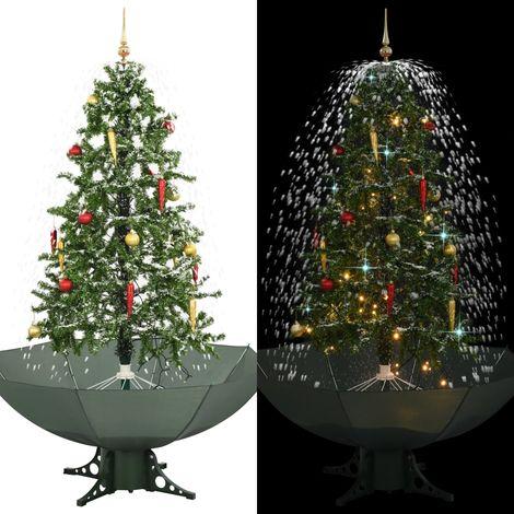 Hommoo árbol de Navidad con nieve con base en paraguas verde 170 cm