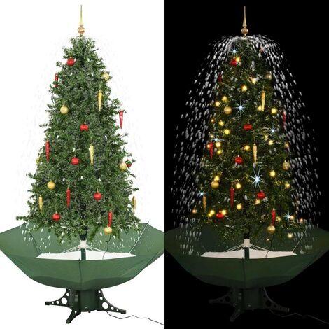 Hommoo árbol de Navidad con nieve con base en paraguas verde 190 cm