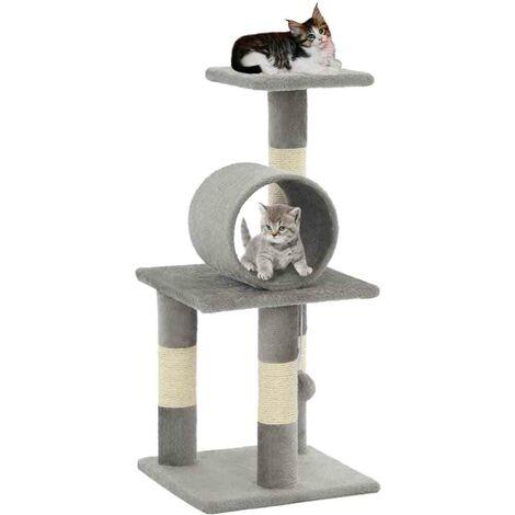 Hommoo Arbre à chat avec griffoirs en sisal 65 cm Gris HDV07152