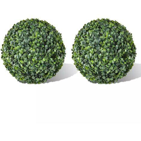 Hommoo Arbusto de bolas Boj artificial 2 unidades 35 cm