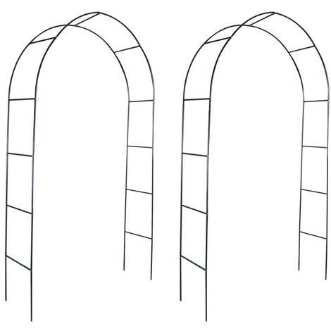 Hommoo Arche de jardin 2 pcs pour plantes grimpantes