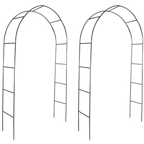 Hommoo Arcos de jardín 2 unidades para plantas trepadoras