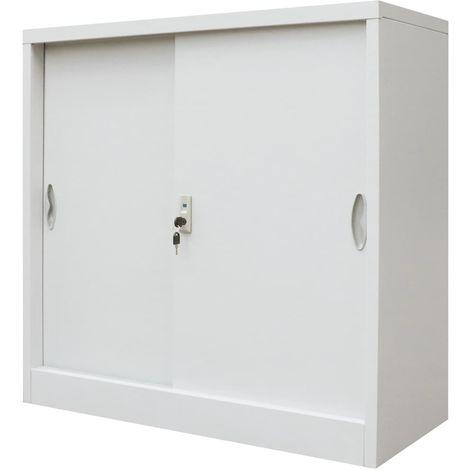 Hommoo Armario oficina con puertas correderas metal gris 90x40x90 cm