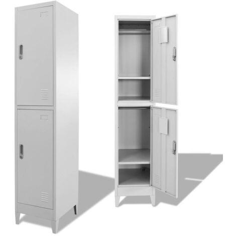 Hommoo Armario taquilla con 2 compartimentos 38x45x180 cm
