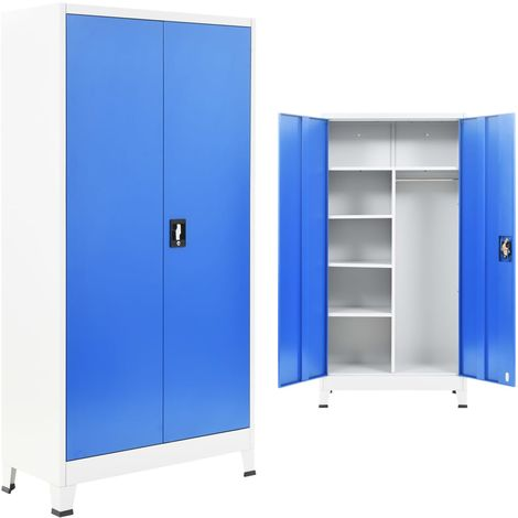 Hommoo Armario taquilla con 2 puertas metal 90x40x180 cm gris y azul