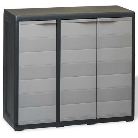 Hommoo Armoire de rangement de jardin avec 2 étagères Noir et gris HDV27992
