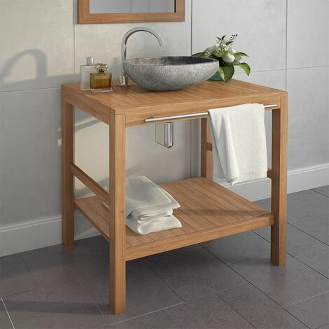 Hommoo Armoire de toilette Teck solide et lavabo en pierre de rivière HDV12427