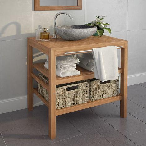 Hommoo Armoire de toilette Teck solide et lavabo en pierre de rivière
