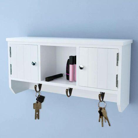 Hommoo Armoire murale pour clés et bijoux avec portes et crochets HDV08970
