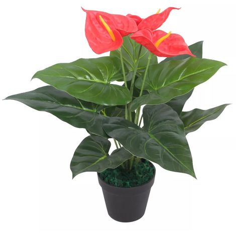 Hommoo Artificial Anthurium Plant with Pot 45 cm Red and Yellow