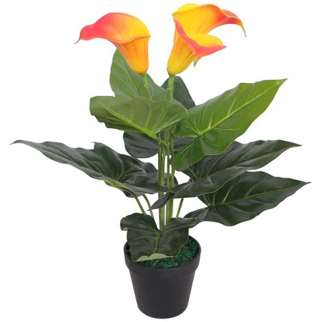Hommoo Artificial Calla Lily Plant with Pot 45 cm Red and Yellow