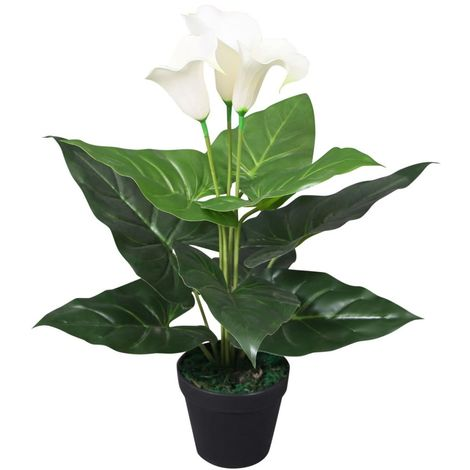 Hommoo Artificial Calla Lily Plant with Pot 45 cm White