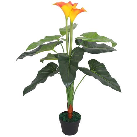 Hommoo Artificial Calla Lily Plant with Pot 85 cm Red and Yellow
