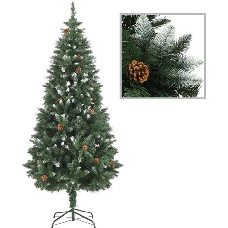 Hommoo Artificial Christmas Tree with Pine Cones and White Glitter 180 cm