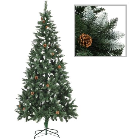 Hommoo Artificial Christmas Tree with Pine Cones and White Glitter 210 cm