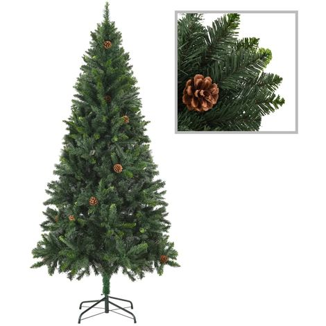 Hommoo Artificial Christmas Tree with Pine Cones Green 180 cm