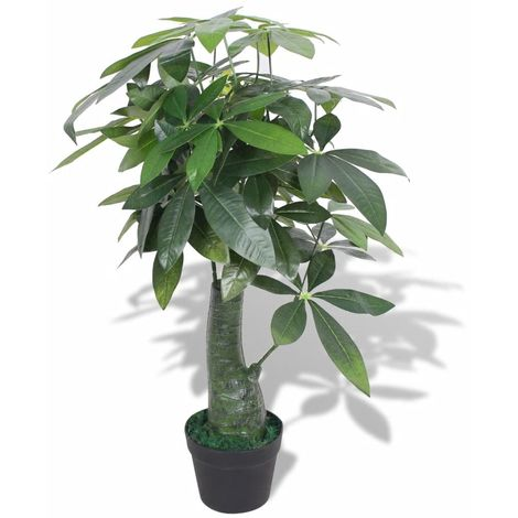 Hommoo Artificial Fortune Tree Plant with Pot 85 cm Green